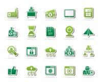 Geschäft und Büromaschinenikonen Stockbilder