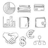Geschäft und skizzierte Finanzikonen Stockfoto