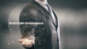 Geschäft-Zu-Verbraucher mit Hologrammgeschäftsmannkonzept stock abbildung