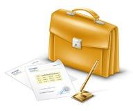 Geschäfts-Aktenkoffer mit Dokumenten und Feder vektor abbildung