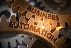 Geschäfts-Automatisierung auf goldenen Zahnrädern Abbildung 3D Stockfotografie