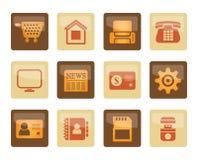 Geschäfts-, Büro- und Websiteikonen über braunem Hintergrund lizenzfreies stockbild