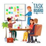 Geschäfts-Charakter-Gedränge Team Work Vector Gedränge-Meister Strategieplanungssitzung Klebrige Anmerkungs-Karten Lokalisierte E lizenzfreie abbildung