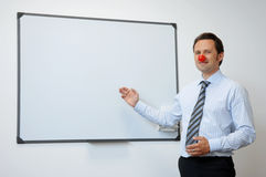 Geschäfts-Clown mit roter Nase Lizenzfreie Stockfotos