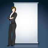 Geschäfts-Dame mit Anschlagbrett stock abbildung