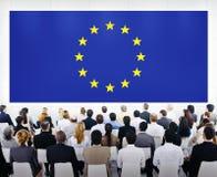 Geschäfts-Darstellung mit Europa-Union Jack stockfotos