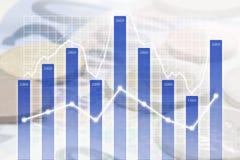 Geschäfts-Diagramm bedeckt auf internationaler Währung Lizenzfreies Stockbild