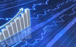 Geschäfts-Diagramm mit hohem Pfeil Stockfoto