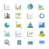 Geschäfts-Diagramm-und Diagramm-flache Ikonenfarbe Stockfoto