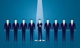 Geschäfts-Einstellungs-Konzept, das Geschäftsmann vorwählt Stockfotos