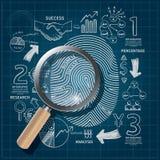 Geschäfts-Fingerabdruck kritzelt Federzeichnungsplanerfolg Stockfotos