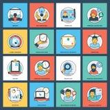 Geschäfts-flacher kreativer Ikonen-Satz Stockbilder
