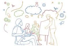 Geschäfts-Fortbildungsseminar mit Gekritzel-Gruppe Wirtschaftlern Sit Together Conference Meeting stock abbildung