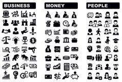 Geschäfts-, Geld- und Leuteikone Stockfoto
