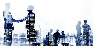 Geschäfts-Händedruck-Vereinbarungs-Abkommen-Büroangestellt-Konzept lizenzfreie abbildung