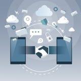 Geschäfts-Händedruck vom Zellintelligenten Telefon, on-line-Handerschütterungs-Abkommen-Wirtschaftler-Internetanschlüsse stock abbildung