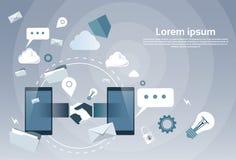 Geschäfts-Händedruck vom Zellintelligenten Telefon, on-line-Handerschütterungs-Abkommen-Wirtschaftler-Internetanschlüsse vektor abbildung