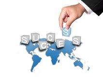 Geschäfts-Hand- und Erfolgswort Stockfoto