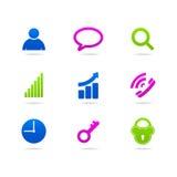 Geschäfts-Ikonen Ñ  ollection Knopfnetz Stockfotos