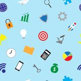 Geschäfts-Ikonen-buntes nahtloses Muster Stockfoto