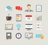 Geschäfts-Ikonen in der flachen Design-Art Stockfotos