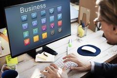 Geschäfts-Ikonen-Ordner-Profil-Glühlampen-Konzept Lizenzfreie Stockfotos