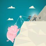 Geschäfts-Konzept, geholfener Zug des Geschäfts Team das rosa Sparschwein Lizenzfreie Stockbilder