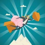 Geschäfts-Konzept, Geschäftsmann, der ein rosa Sparschweinfliegen hält Lizenzfreies Stockbild