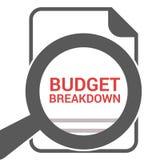 Geschäfts-Konzept: Optisches Vergrößerungsglas mit Wort-Budget-Zusammenbruch lizenzfreie abbildung