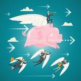 Geschäfts-Konzept, a-Team von Geschäftsfachleuten vom Himmel Stockfoto