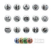 Geschäfts-Leistungsfähigkeits-Ikonen -- Metallrunde Reihe Lizenzfreies Stockbild