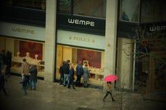 Geschäfts-Logo Wempe Rolex in Frankfurt lizenzfreie stockfotos