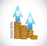 Geschäfts-Marketing-Münzendiagramm-Zeichenkonzept Stockbild