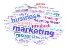 Geschäfts-Marketing-Wort-Wolke, die Konzept bekanntmacht Lizenzfreie Stockbilder