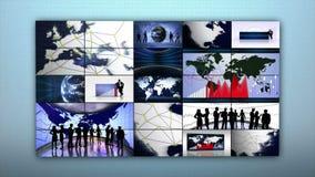 Geschäfts-Montage-Hintergrund, Erde und Diagramme, Animation, Wiedergabe, Schleife, 4k vektor abbildung