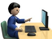 Geschäfts-Person, die in Richtung zu einem Personal-Computer zeigt Stockfoto