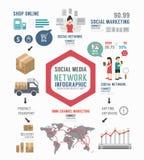 GESCHÄFTS-Schablonendesign Infographic Sozial Konzeptvektor Stockfotos