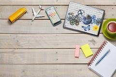 Geschäfts-Schreibtisch-Tablet-Technologie-Hintergrund stockfotografie