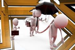 Geschäfts-Sklavenillustration des Mannes 3d Stockfotos
