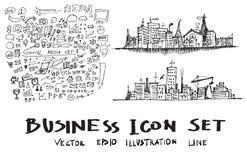 Geschäfts-Stadtbild kritzelt Illustration eps10 Lizenzfreie Stockbilder