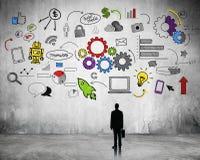 Geschäfts-strategische Planung mit Internet-Ikonen vektor abbildung