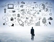 Geschäfts-strategische Planung mit Internet-Ikonen Lizenzfreie Stockbilder