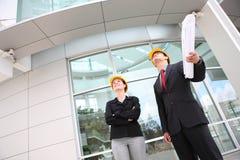Geschäfts-Team an der Büro-Baustelle Lizenzfreies Stockfoto