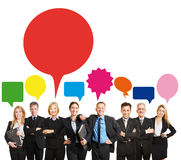 Geschäfts-Team mit Sprache-Blasen lizenzfreie stockfotos