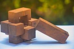 Geschäfts-Teamwork-Konzept: Hölzerner Brain Teaser oder hölzerne Puzzlespiele auf weißem Boden und grünem Busch mit Sonnenlichthi Lizenzfreies Stockfoto
