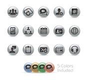 Geschäfts-Technologie-Ikonen -- Metallrunde Reihe Stockfotos