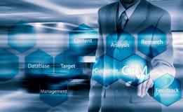 Geschäfts-, Technologie-, Internet- und Kunden-Verhältnis-Managementkonzept Geschäftsmann, der crm Knopf auf virtuellen Schirmen  stockfotografie