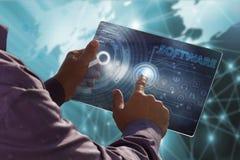 Geschäfts-, Technologie-, Internet- und Netzkonzept Junges busin Lizenzfreie Stockbilder