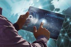 Geschäfts-, Technologie-, Internet- und Netzkonzept Junges busin Stockbilder