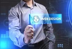 Geschäfts-, Technologie-, Internet- und Netzkonzept Junges busine Lizenzfreie Stockfotos